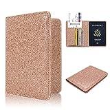 Passport Holder Case, ACdream Protective Premium Leather RFID Blocking Wallet Case for Passport, (Rose Gold Star of Paris)