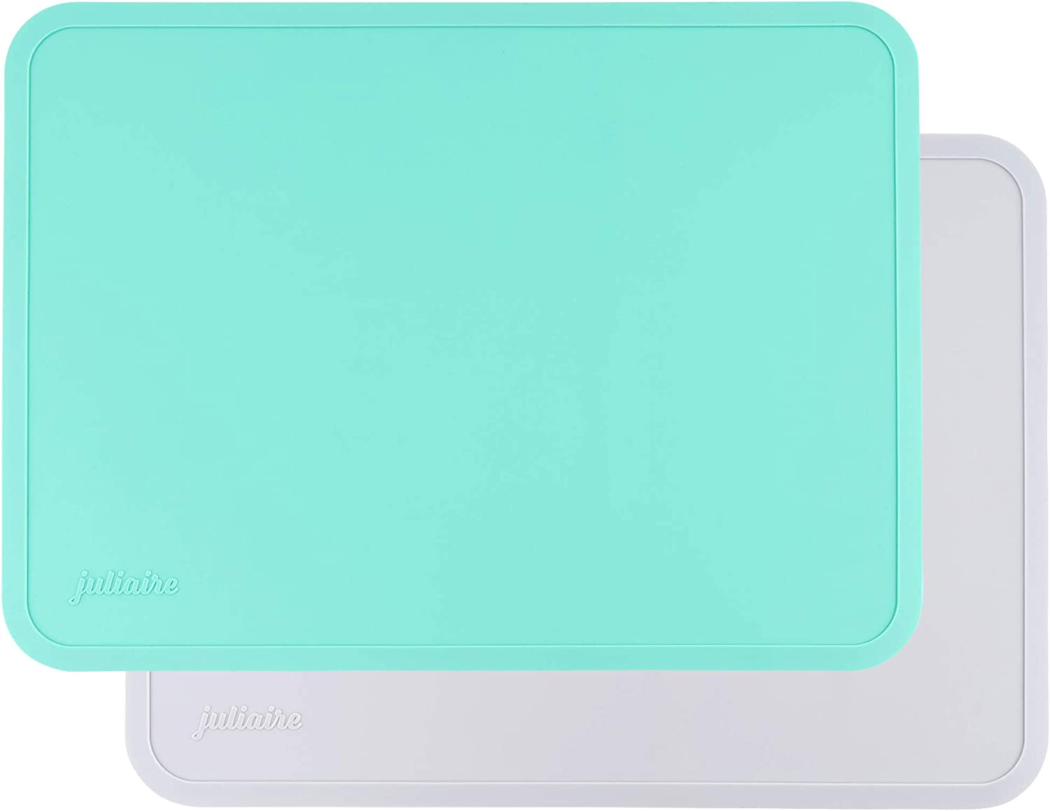 Juliaire Toddler Placemats for Dining Table| Made with BPA Free Baby Safe Silicone, 100% Food-Grade | Kids Placemat, Non Slip Pack of 2 (Gray and Mint)