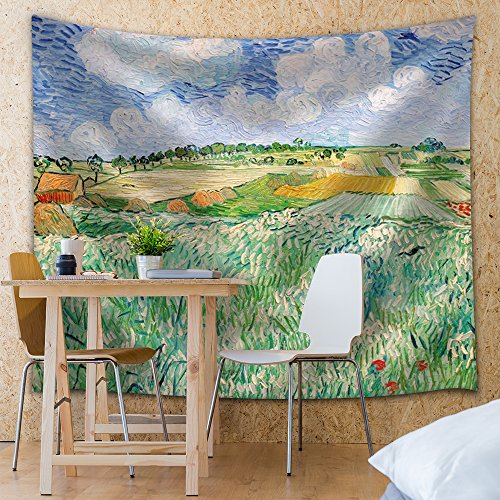 Plain near Auvers by Vincent van Gogh Fabric Tapestry