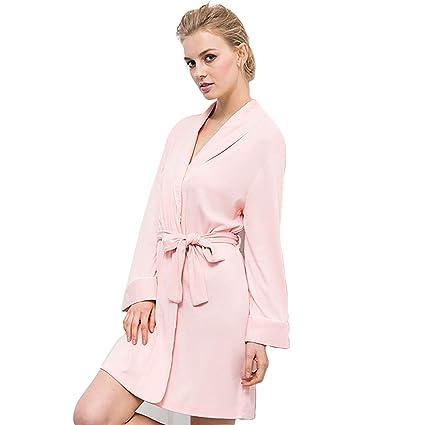 WGE Batas De Baño para Mujer Ropa De Dormir De Punto Suave Kimono Cuello Ropa De