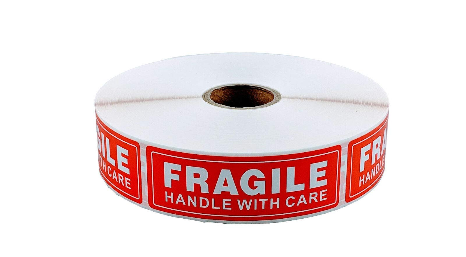 1'' x 3'' Fragile Stickers Handle with Care (8000 Stickers (1'' Core Roll)) by Family Cart