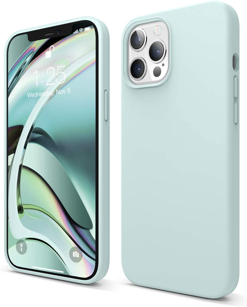 elago Liquid Silicone Case Compatible with iPhone 12 Pro Max 6.7 Inch (Green) - Full Body Protection (Screen & Camera Protection)