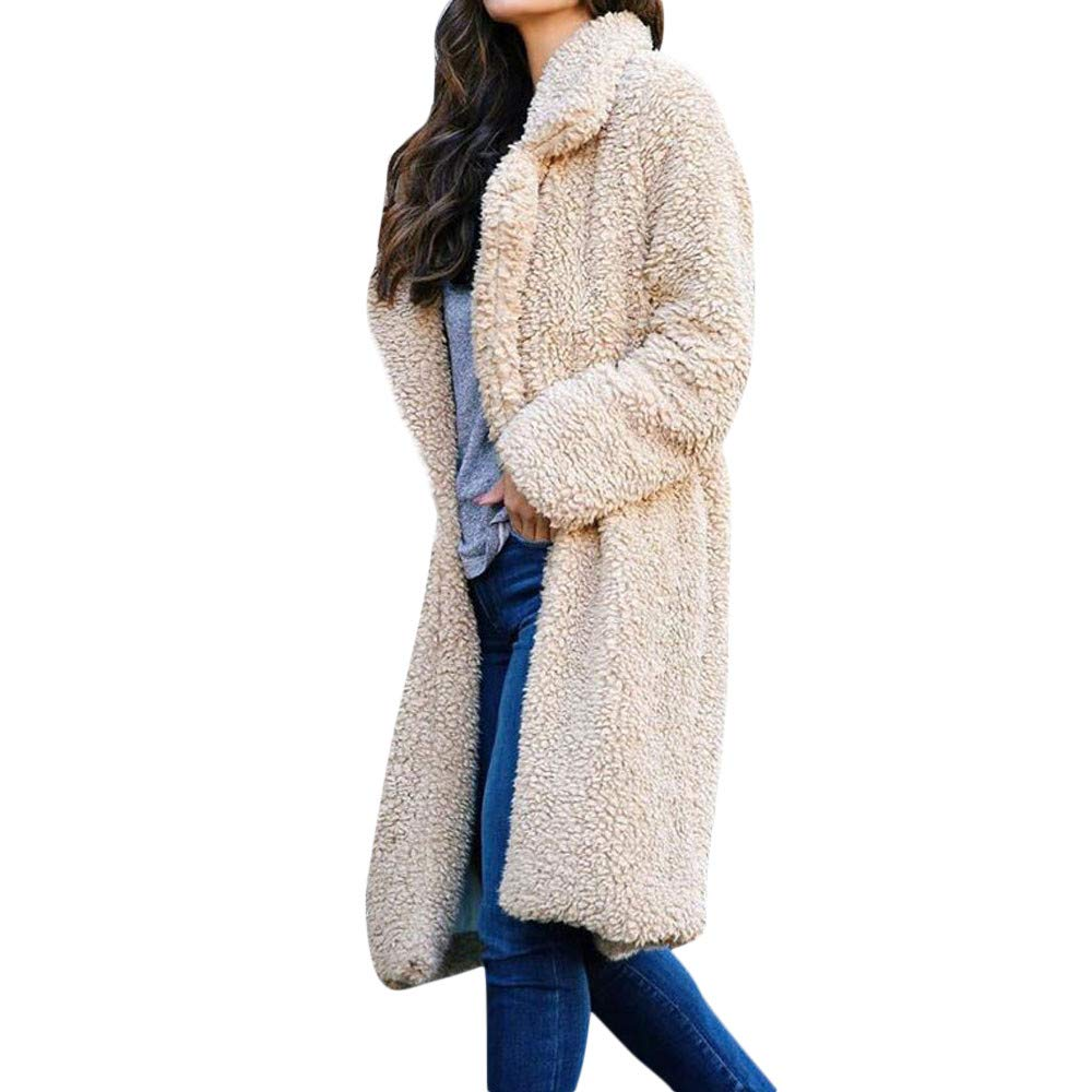 Funnygals - Womens Fluffy Tops Jacket Long Sleeve Open Front Cardigan Faux Fur Fleece Coat Outerwear for Winter Autumn Beige by Funnygals - Clothing