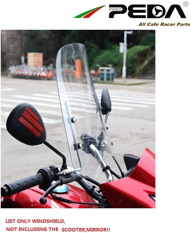 NIHAO Motorcycle Windshield Scooter Windscreen Scratch Resistant Wind Deflectors PC 3mm Thick