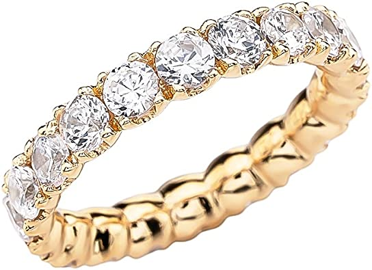 Sz 6 34-14k Solid White Gold Appealing 14k Solid Gold Half-Eternity Cubic Zirconia Wedding Band Ring R2075