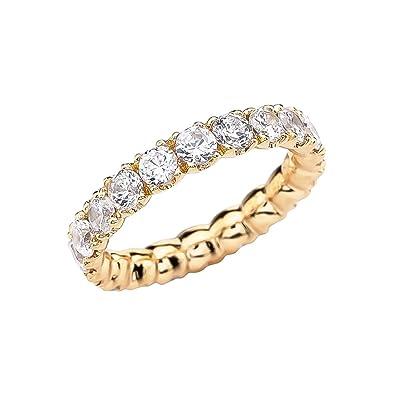 a8fc71513ac873 14k Yellow Gold 4.5 Carat Cubic Zirconia Wedding Eternity Band(Size 4)