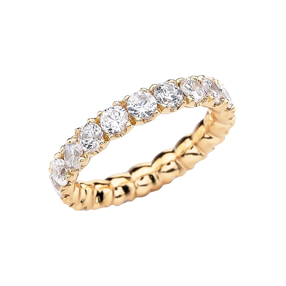 14k Yellow Gold 4.5 Carat Cubic Zirconia Wedding Eternity Band(Size 8) by Wedding Bands by FDJ (Image #1)