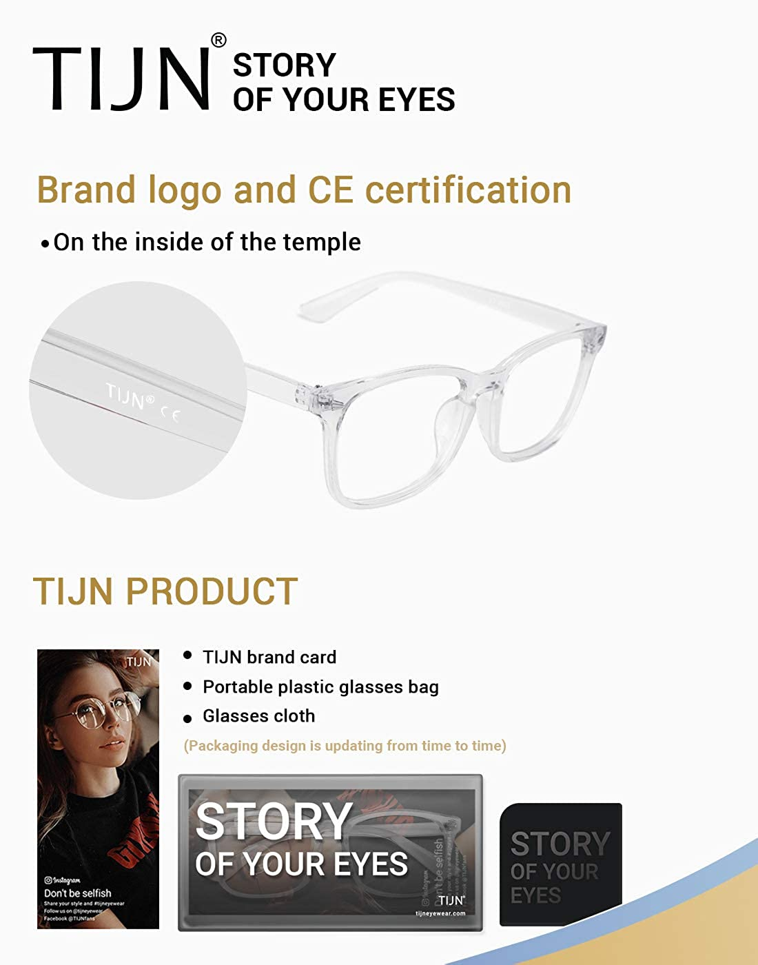 TIJN Blue Light Blocking Glasses Square Nerd Computer Gaming Clear Glasses anti Eye Stain for Women and Men Kids