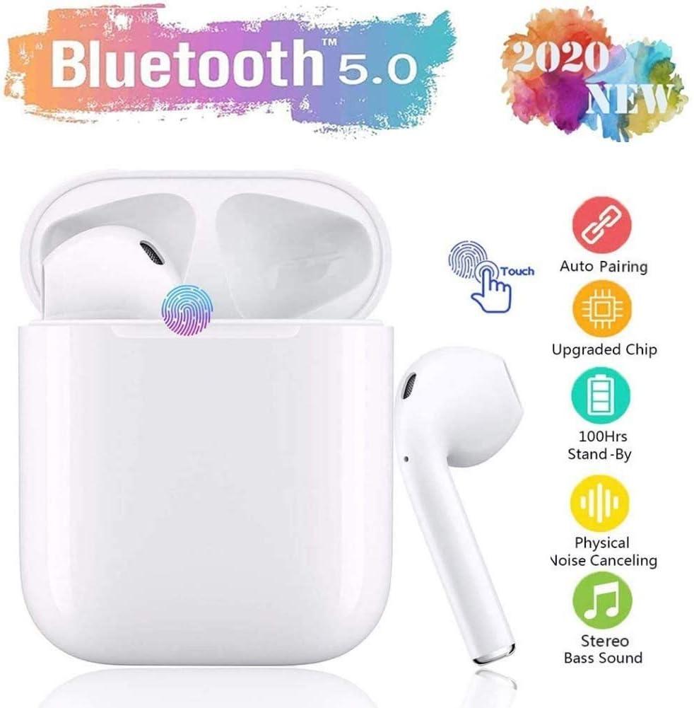 Bluetooth 5.0 Auriculares Inalámbricos TWS i12 Touch Control y Pop-Up Conexión Emergente Sonido Estéreo 3D con IPX7 Waterproof Emparejamiento Automático para Trabajo y Deportes Viaje-Blanco