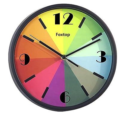 Foxtop Reloj de Pared Silencioso Moderno Colorido Decoración Hogar, 26 cm
