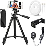 Phone Tripod,42 Inch Aluminum Camera Stand for Iphone Smartphone Tripod with Phone and Table Holder Mount with Bluetooth Remote Shutter Flexible Stand and Selfie Light(Black)