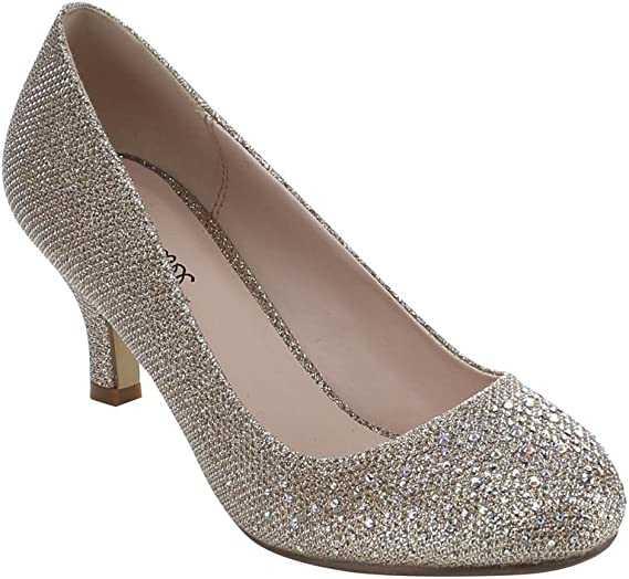 Bonnibel Wonda-1 Womens Round Toe Low Heel Glitter Dress Pumps