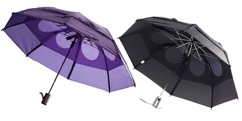 Gustbuster Metro Wind Resistant Umbrellas 2 Pack Bundle, Black and Purple