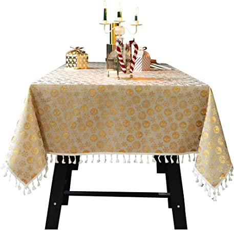 Mantel de Navidad resistente al polvo, diseño de bronce, algodón, lino, decoración para fiestas y bodas, amarillo, 140 x 220 cm: Amazon.es: Hogar