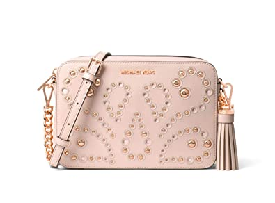 d0799980dfdc ... france michael kors ginny medium embellished leather camera crossbody  soft pink 5a409 9bcba