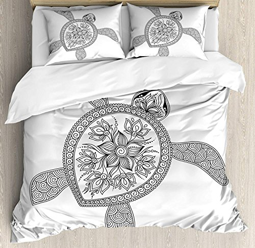 WomenFoucs Turtle Full Bedding Comforter Sets All-Season 4pc Duvet Cover Set Quilt Bedspread for Adult/Kids/Teens, Artistic Turtle Figure Henna Mehndi Tattoo Style Doodles Floral Ornaments Asian -