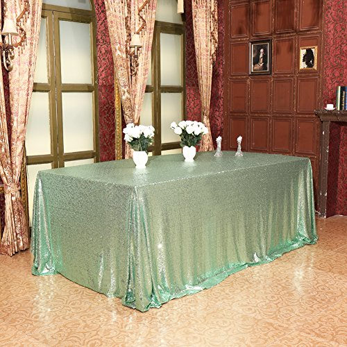 Eternal Beauty 60'' X 120'' Mint Green Sequin Tablecloth Wedding Banquet Party Rectangle Table Cover]()