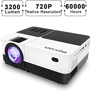 POYANK WXGA 3600Lumens LCD Projector Full HD 1080P Support, Native 720P Compatible with HDMI, USB, SD/TF Card, AV, TV Box, 200