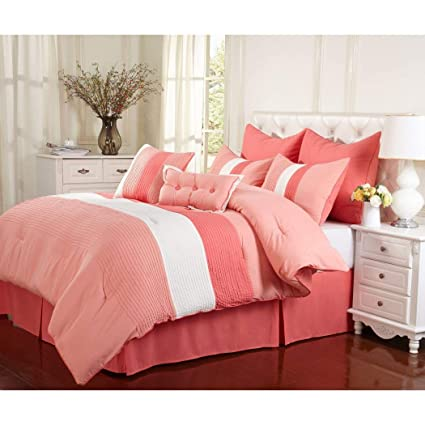 Amazon Com 8 Piece Girls Coral Pink White Stripe Theme Comforter