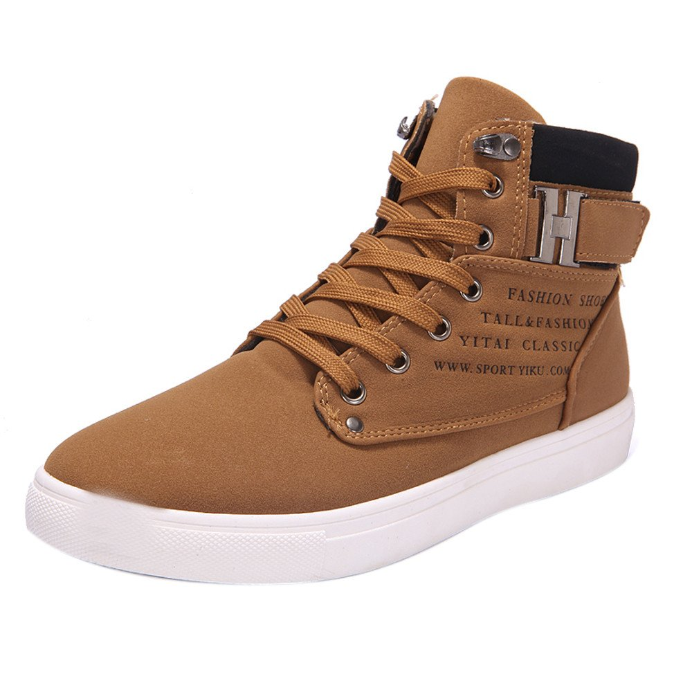 Women Men's High Top Vintage Sneaker, Lace-Up Ankle Boots Shoes Casual High Top Canvas Shoes Kahki