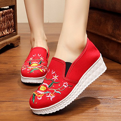 stile un scarpe parte red ricamate pedale biancheria moda di etnico suola Scarpe spessa Ballerine scarpe donna Scarpe singole Chnuo inferiore tendine femmina comodo wPq4Hw
