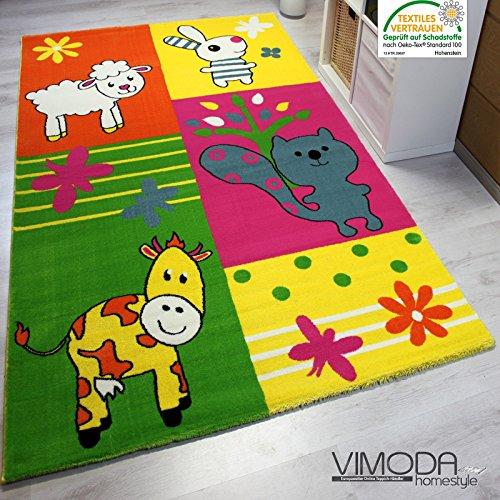 Moderner Kinderteppich Bauernhof Kinder Teppich Kuh Schaf in Bunte Farben ÖKO TEX 100 Zertifiziert - VIMODA; Maße: 160x230 cm