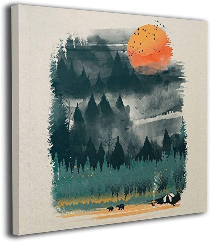 Camping Mountain Star Sky 5 panel canvas Wall Art Home Decor Poster Print