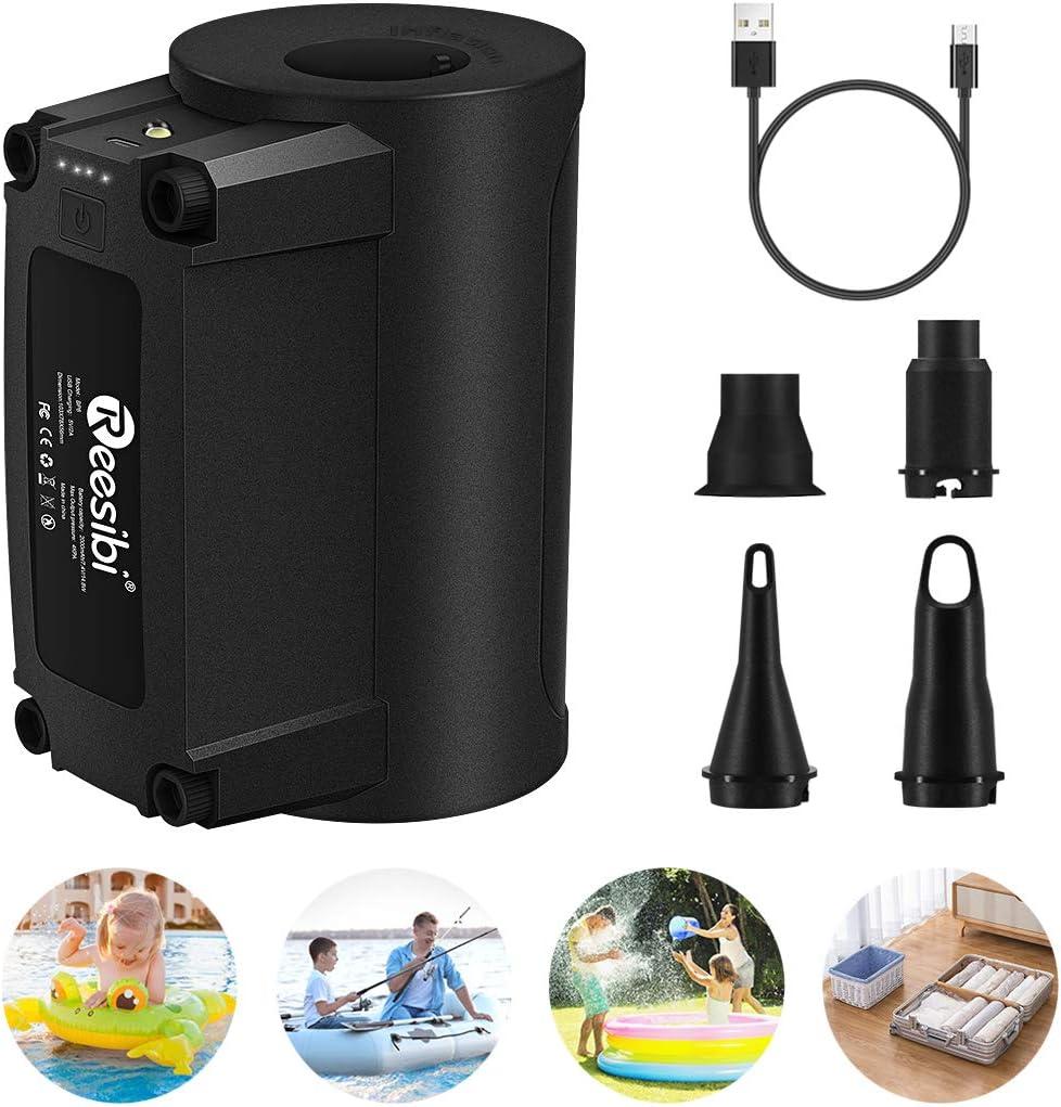 VEEAPE Bomba de Aire eléctrica, Bombas de inflado/deflactor de llenado rápido portátiles para Anillo de natación, Barcos, Juguetes inflables, Acampar al Aire Libre, con 4 Accesorios