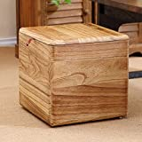 Storage Stool Multi-functional, can sit adult solid wood toys sundries storage boxes, shoes stool (Color : Light burning color)