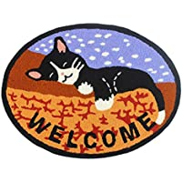 KEPSWET Fashion Cartoon Cat Pattern Rugs Oval Bedroom Carpets Living Room Mats Door Mats Computer Chair Coffee Table Carpets Foot Non-Slip Mats Area Rugs (26x20, cat)