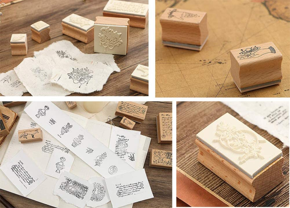 Creative Stamps Set Wooden Rubber Stamps Set Stamps for Writing #22 2 PCS