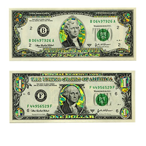 $1 and $2 Bill Gold Hologram Dollar