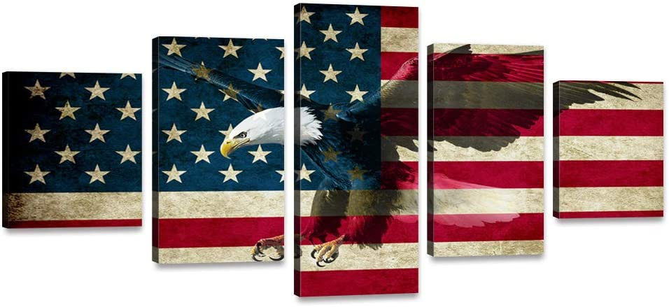 """5 Panels Wooden American Flag Eagle Canvas Red White Wall Art Patriotic USA Flag Hawk Painting Artwork Print Poster for Living Room Bedroom Office Home Decor Stretched Framed Ready to Hang (60""""Wx32""""H)"""