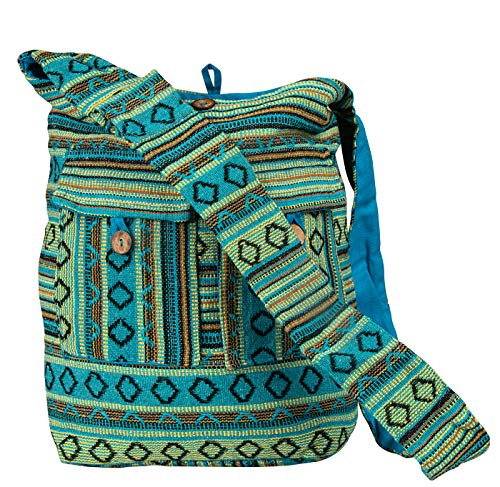Tribe Azure Blue Aztec Canvas Large Hobo Cross body Shoulder Sling Slouch Casual Shopping Market Bag