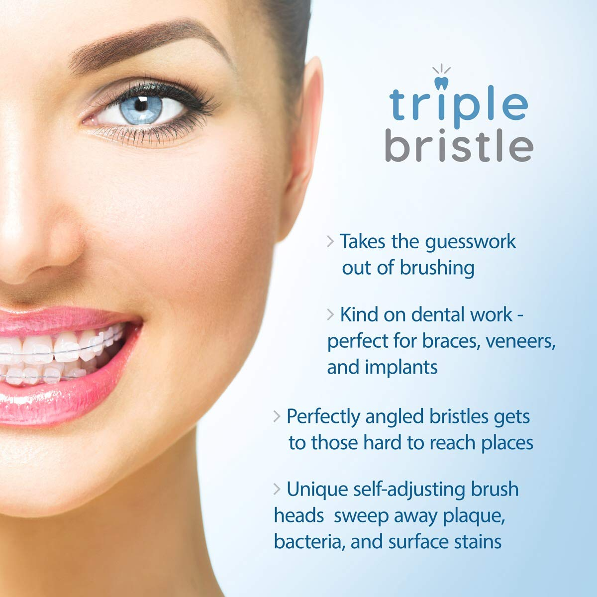 Triple Bristle Best Sonic Electric Toothbrush - Whiter Teeth & Brighter Smile - Rechargeable 31,000 VPM Tooth Brush is Unique & Patented 3 Brush Head Design - Perfect Angle Bristles Clean Each Tooth by Triple Bristle (Image #7)