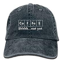 Vintage Cap Hat Coffee Element Shhh Not Yet Six-panel 3D Print Adjustable Baseball Hat For Unisex Black