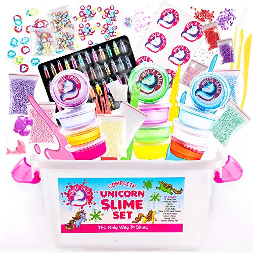 White Tails Unicorn Slime Kit for Girls and Boys 12 Containers of Clear Slime for Kids