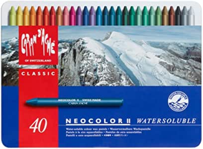Caran d'Ache Classic Neocolor II Water-Soluble Pastels, 40 Colors