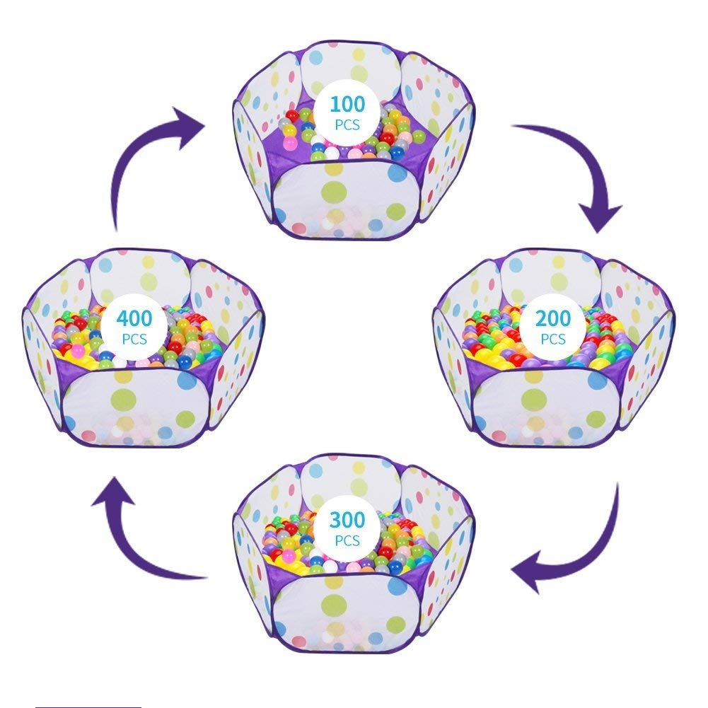 Kids Ball Pit, Karida Large Pop Up Toddler Ball Pits Tent for Toddlers, Children for Indoor Outdoor Baby Ball Pool Playpen with Zipper Storage Bag, Balls Not Included (Purple) by Karida (Image #6)