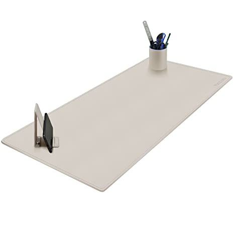 Stupendous Maidern Desk Pad Blotter 39 4 X 15 7 Large Office Writing Desk Computer Leather Mat Mousepad With Pen Holder And Cell Phone Stand Off White Home Interior And Landscaping Ymoonbapapsignezvosmurscom