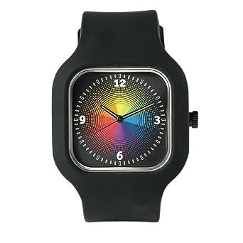 Amazon Com Black Fashion Sport Watch Artist Rainbow Color Wheel