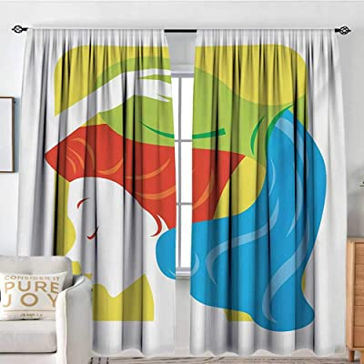 "NUOMANAN Blackout Curtains for Bedroom Zodiac Aquarius,Contemporary Style Western Astrology Lady Ascendant Celestial Illustration,Multicolor,for Bedroom&Kitchen&Living Room 54""x72"": Home & Kitchen"