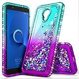Alcatel TCL LX Case (A502DL), Alcatel Avalon V (Verizon Wireless)/1X Evolve/IdealXTRA, NageBee Glitter Liquid Waterfall Floating Sparkle Shiny Bling Diamond Girls Kids Women Cute Case -Aqua/Purple
