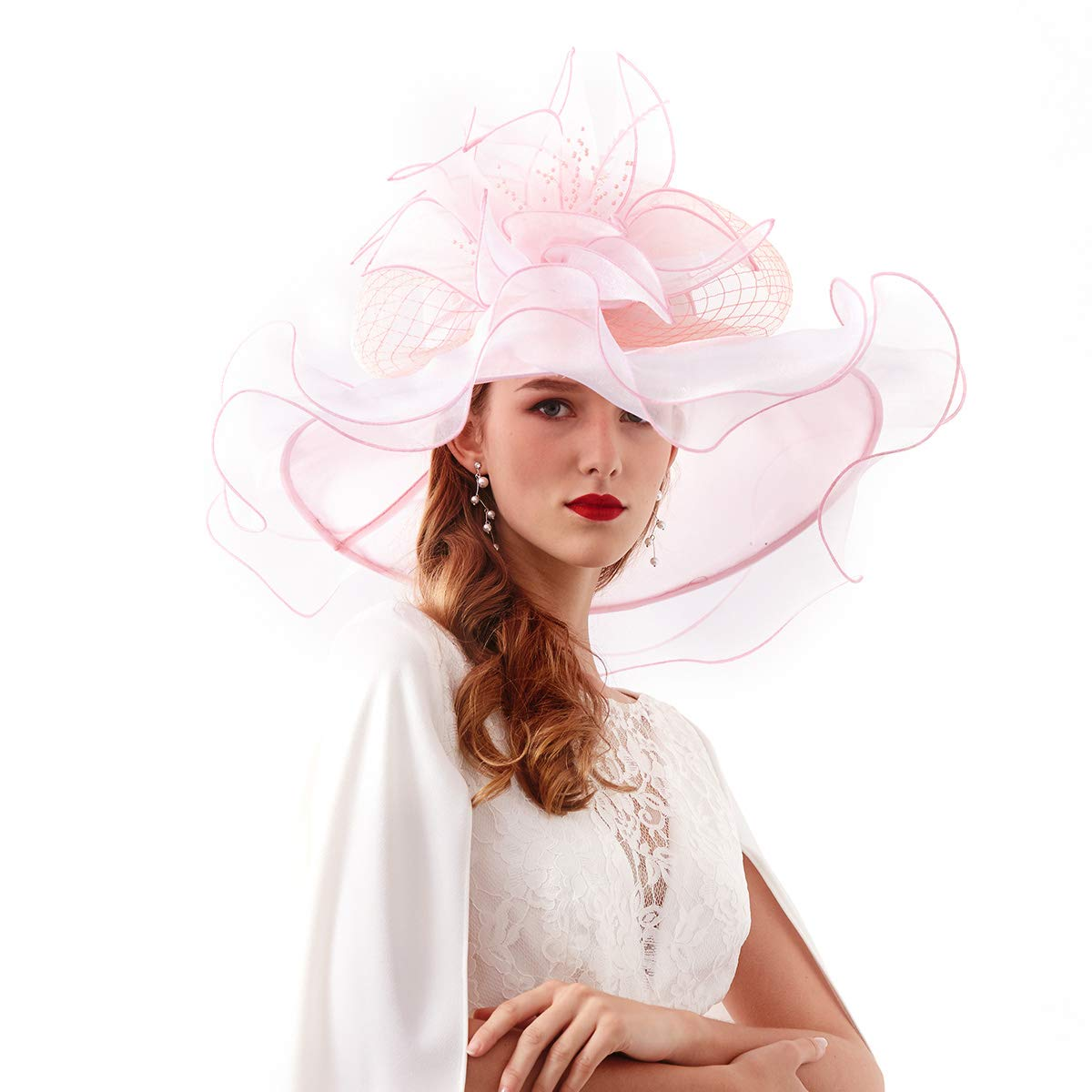 Rotus Women's Organza Kentucky Derby Tea Party UV-Anti Hat (Design 4 - Light Pink)