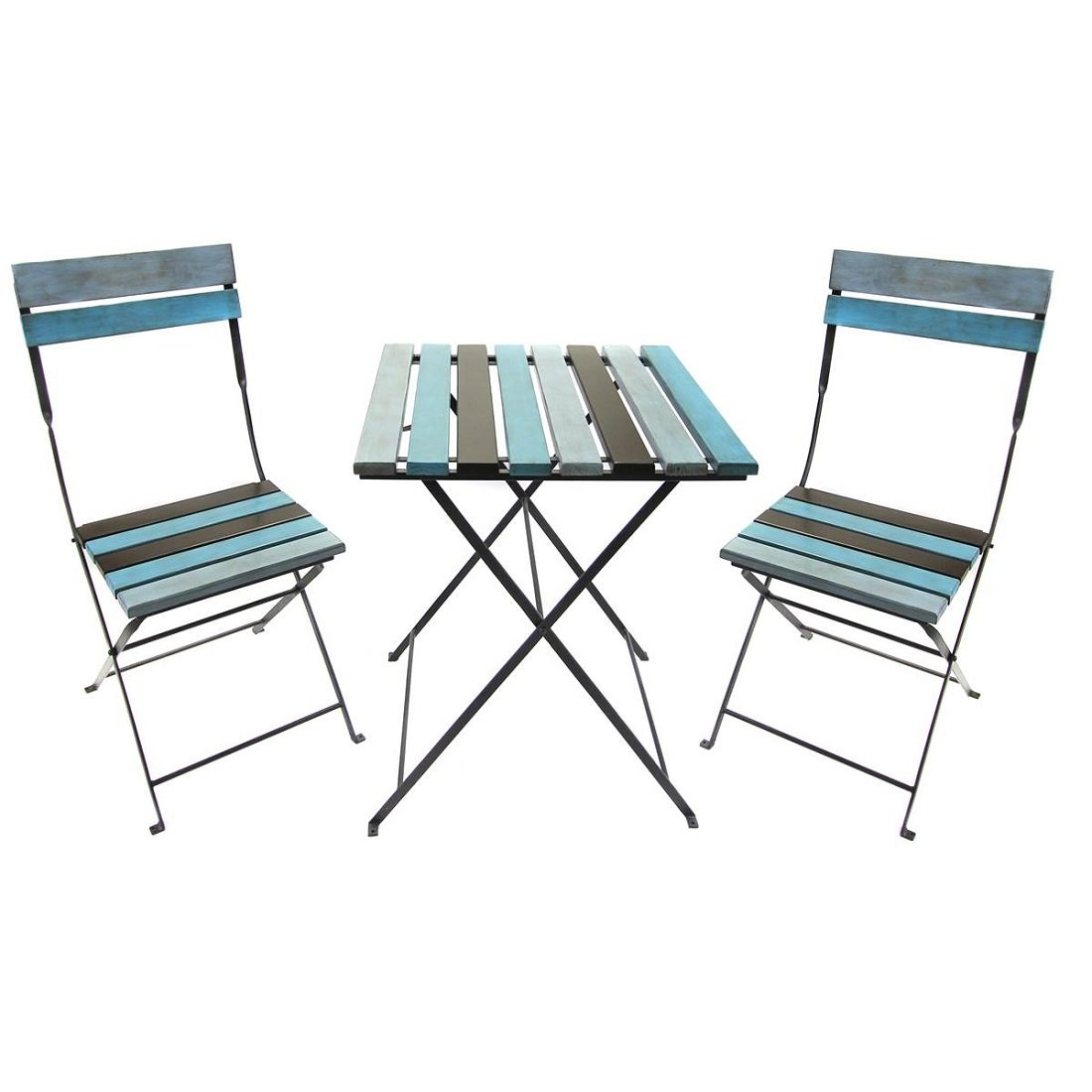3-Piece Steel and Wood Outdoor Patio Furniture Set - Table: 23.6'' L x 23.6'' W x 28'' H in - Chairs: 16.5'' L x 18.1'' W x 32.2'' H