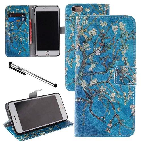 Urvoix Schutzhülle für iPhone 6/6S, 4,7 Zoll, Motiv: Baum mit Blüten, Blau, aus PU-Leder, Klapptasche mit Kartensteckplätzen, mit Magnetverschluss und Standfunktion (nicht passend für 6/6S Plus)