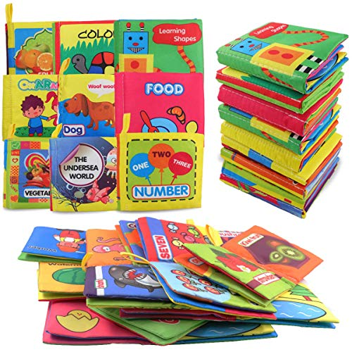 DEKIRU Baby Books 9-Pack Nontoxic Fabric Colorful Cloth Book for Babies Early Education Baby Toys Activity Crinkle Cloth Book for Toddler