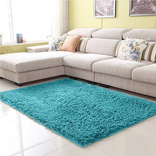 Elegant Living Room Furniture - Junovo Ultra Soft Contemporary Fluffy Thick Indoor Area Rug Home Decor Living Room Bedroom Kitchen Dormitory,4' x 5.3',Blue
