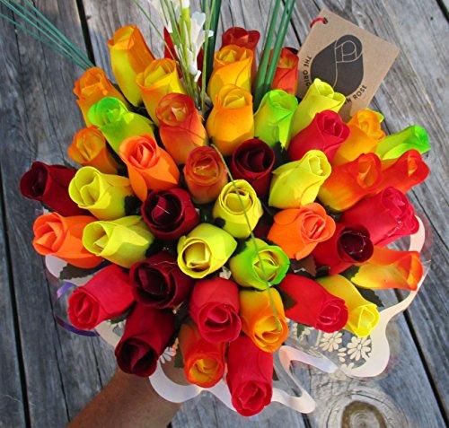 The Original Wooden Rose Fall Harvest Festival Thanksgiving Flower Bouquet Closed bud (3 Dozen) by The Original Wooden Rose (Image #5)
