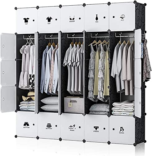 GEORGE DANIS Portable Wardrobe Closet Armoire Plastic Dresser Bedroom Cube Storage Organizer, Black, 18 inches Depth, 5×5 Tiers